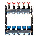 "Distribuitor-colector metalic SISTEMA 1""x3/4"" cu debitmetre 9 circuite"